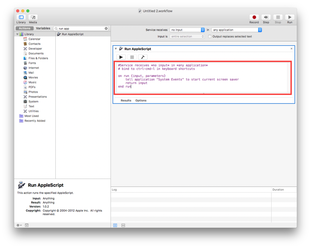 "Doubleclick ""Run Applescript"" to add it to the service."