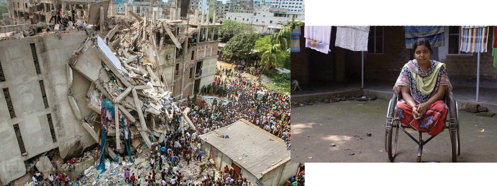 The garment factory collapse killing more than a thousand factory workers in Bangladesh.