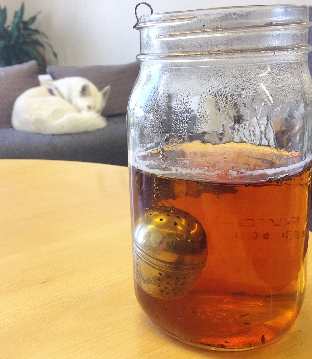Keep a large water jug on your desk so you're encouraged to drink more water