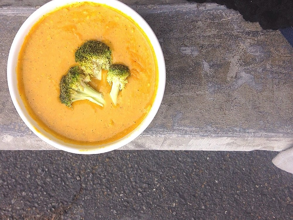 Vegan, Zero Waste, Broccoli and Cheese soup from www.goingzerowaste.com