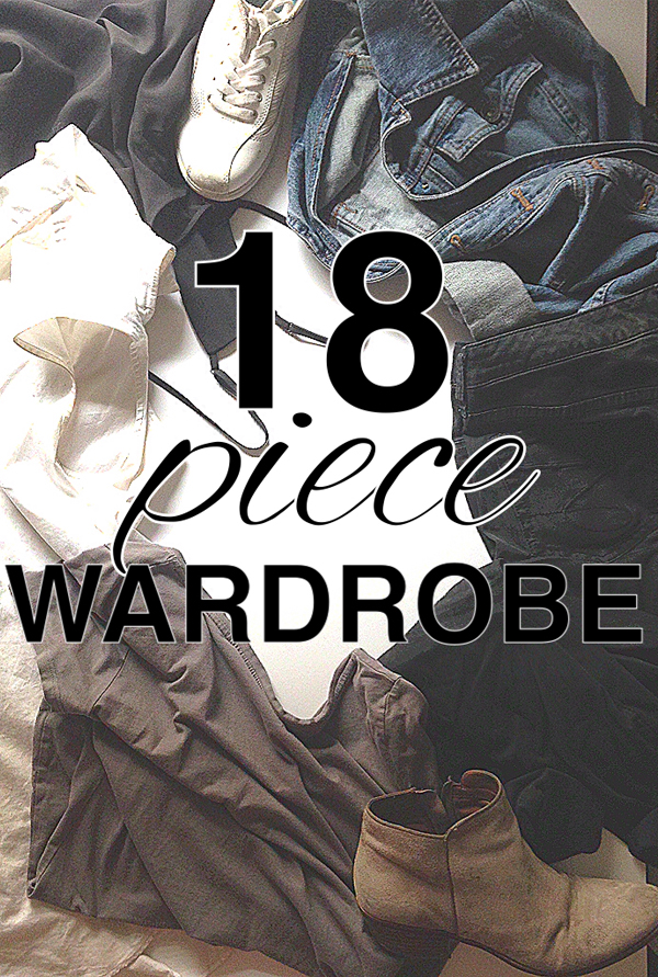 eighteen piece wardrobe from www.goingzerowaste.com. Minimize your wardrobe.