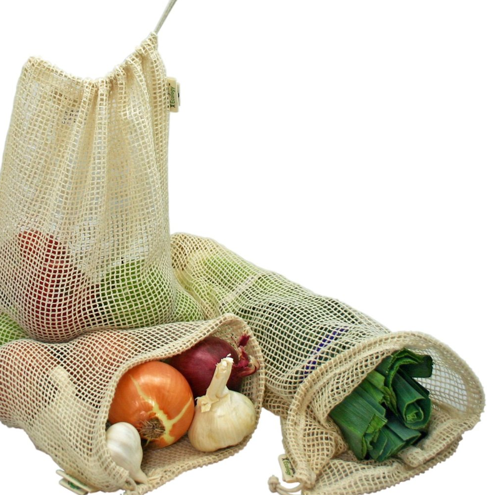 Organic cotton mesh bags. Great for veggies and buying large items in bulk like fig bars, crackers, dried fruit, bagels and rolls. I have several of the x-small size. They're the perfect size to compliment the other large bags I have. Also great for on the go.