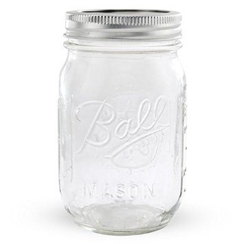 16oz glass mason jars have a plethora of uses from drinks to leftovers. You can read about 13 unexpected uses for a mason jar here. There are typically a lot of these at the thrift store. Even if they don't have lids, you can pick them up at the canning section at your local grocery store. They come in cardboard which you can recycle or compost.