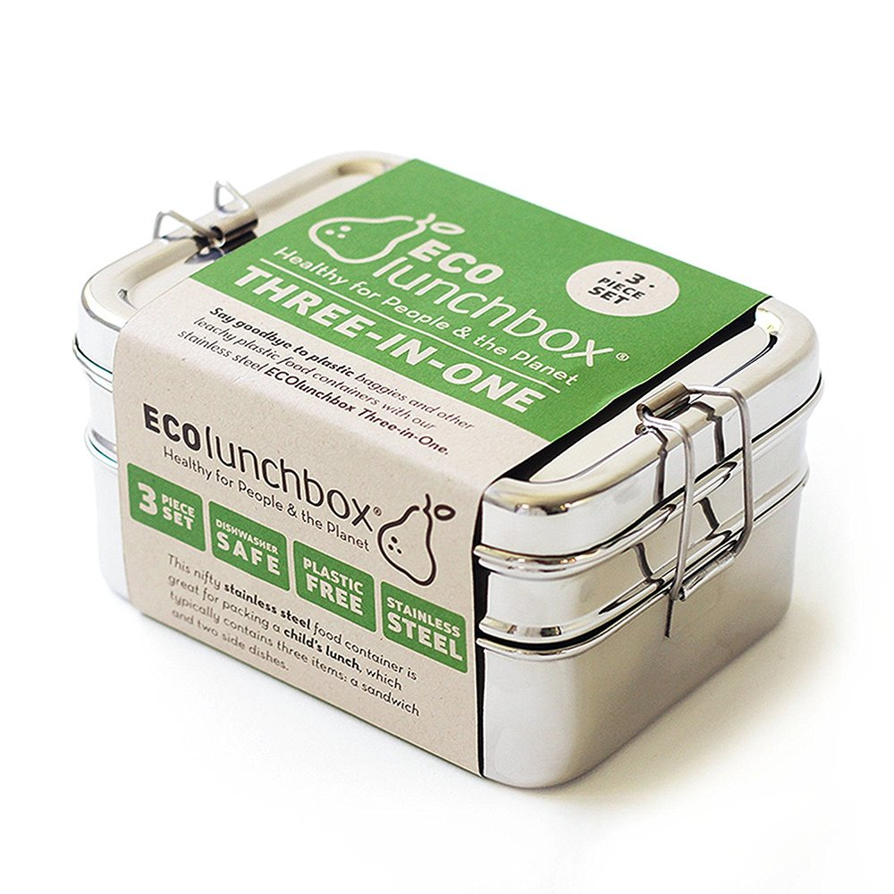 A tiffin lunch box great for bringing lunch or taking home leftovers from a restaurant. I have two of these and they're perfect for slipping into a backpack or bag. They're pretty slender, but they're not leak proof. If you're looking for something leak proof go for the mason jar!