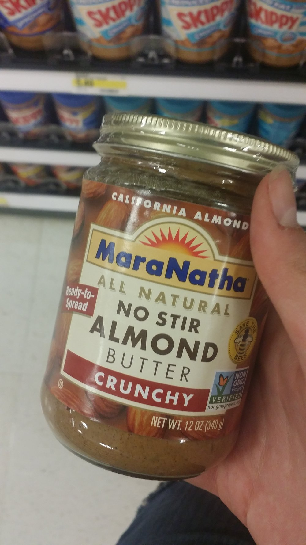 This almond butter is from California and it comes in a glass jar that can easily be reused.