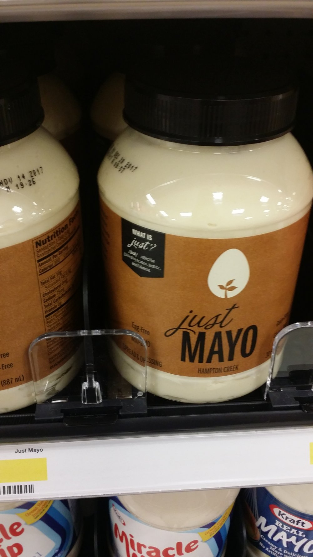 Egg free mayo! It does come in a plastic jar, but I'm glad it's carried at target. I do still eat eggs, but I only eat them when I know the chickens.