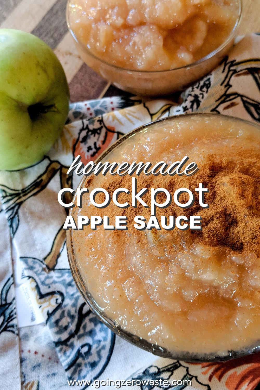 Homemade Crockpot Apple Sauce for apple week from www.goingzerowaste.com #zerowaste #apples #fallrecipes