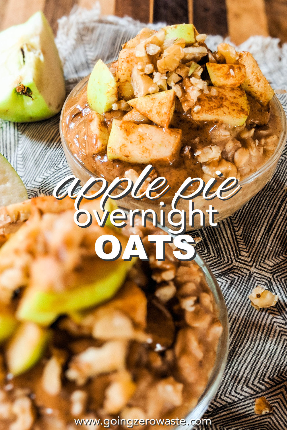 Apple Pie Overnight Oats from www.goingzerowaste.com #fallrecipes #applepie #overnightoats #apples