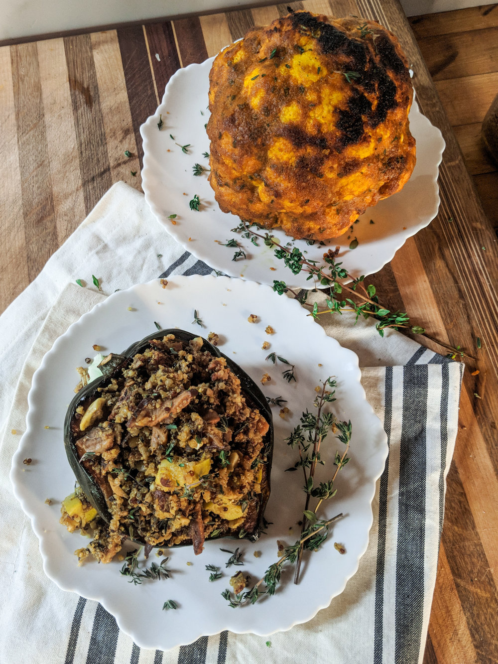 Two showstopping vegetarian mains for the holidays from www.goingzerowaste.com #vegetarian #holidays #thanksgiving #christmas #cauliflower #acornsquash