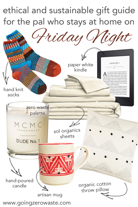 Ethical and Sustainable Gift guide for the pal who loves to spend Friday night at home from www.goingzerowaste.com #giftguide #ecofriendly #ethical #sustainable #hygge