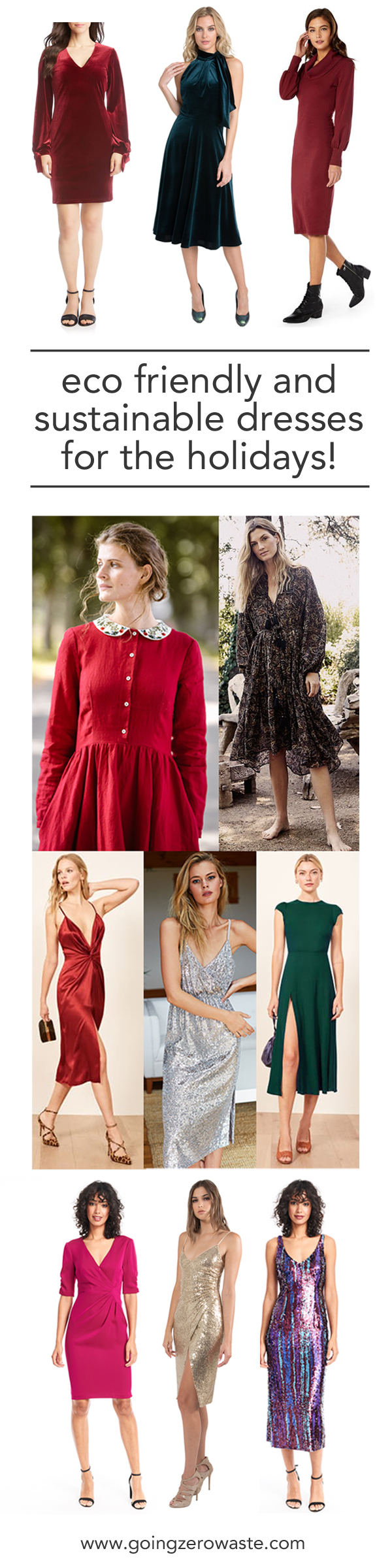 Lust worthy sustainable and ethical holiday dresses from www.goingzerowaste.com #sustainable #ecofriendly #holidaydreesses