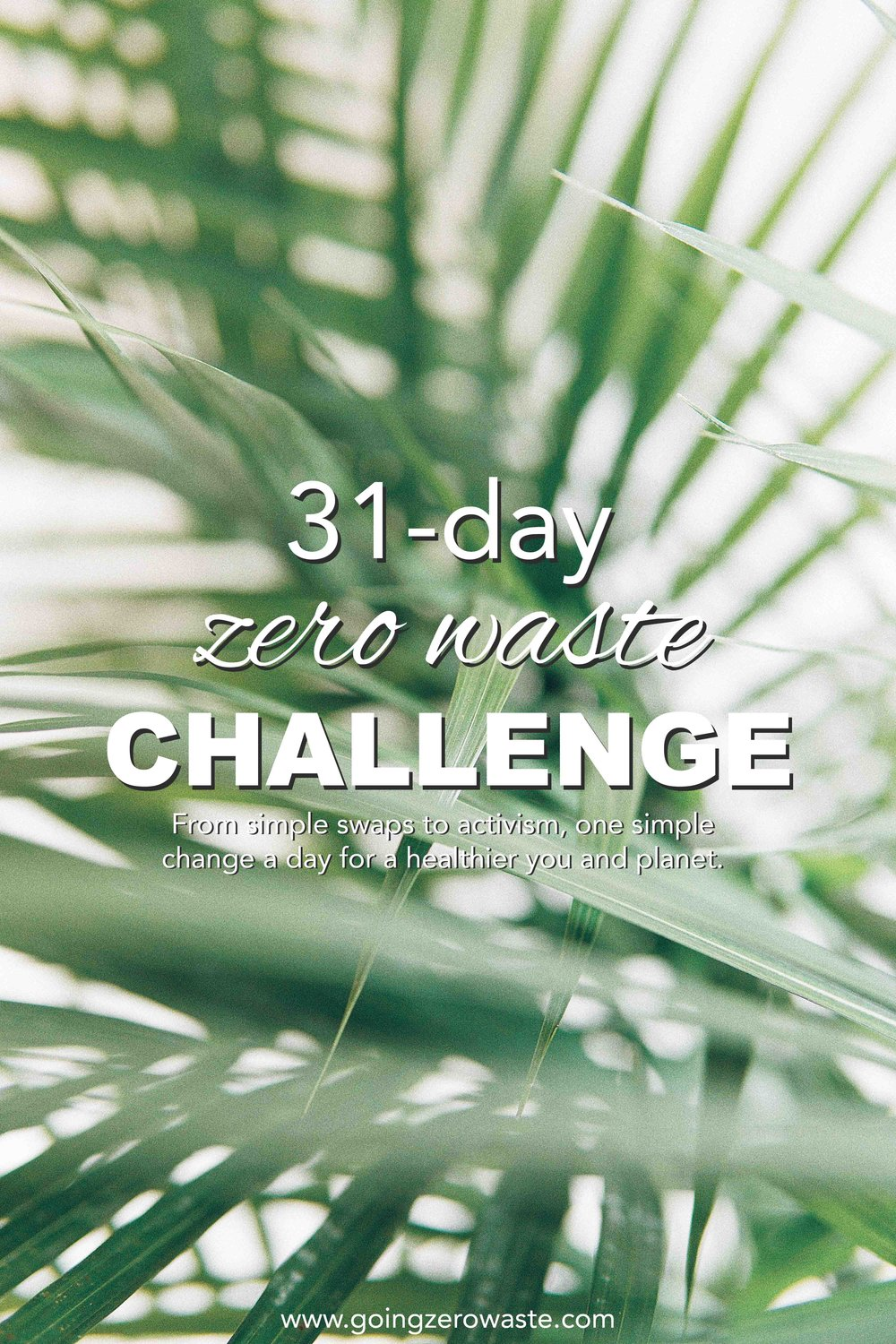 31 Day Zero Waste Challenge from www.goingzerowaste.com. From simple swaps to activism get one challenge every day to help you live a healthier life for both yourself and the planet! #zerowaste #ecofriendly #30daychallenge