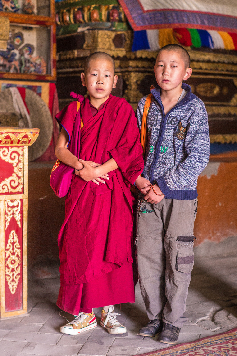 Young monk and visitor