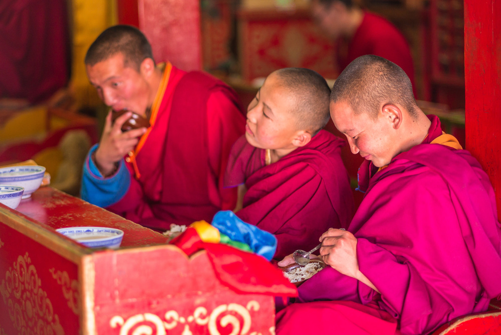 Monks during prayers and chanting