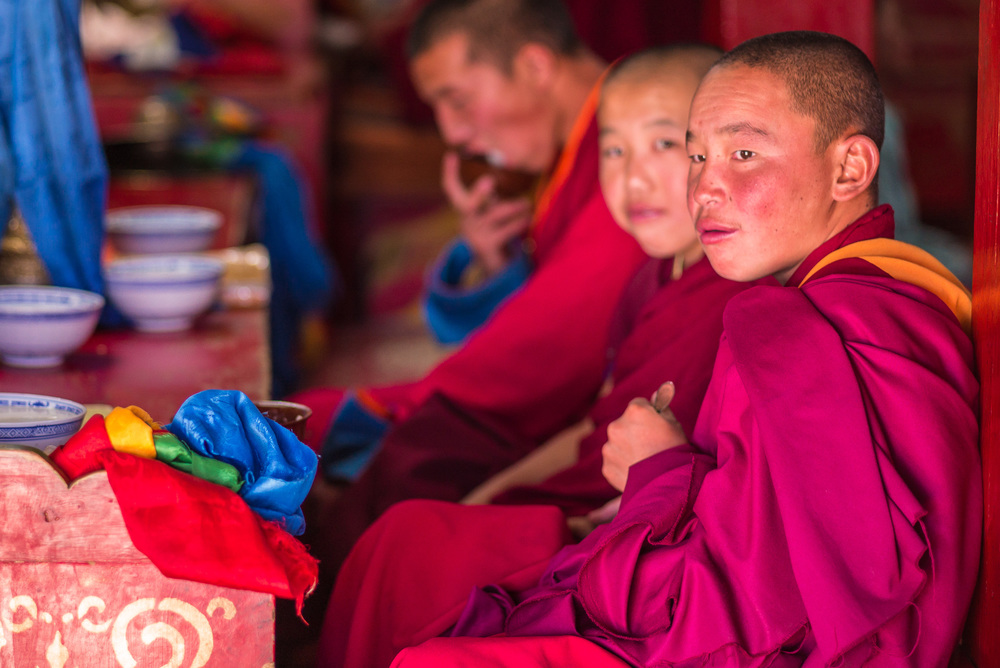 Monks during a Buddhist prayer ritual