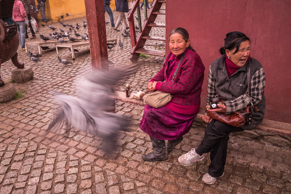 Mongolian lady and friend relaxing in courtyard of temple
