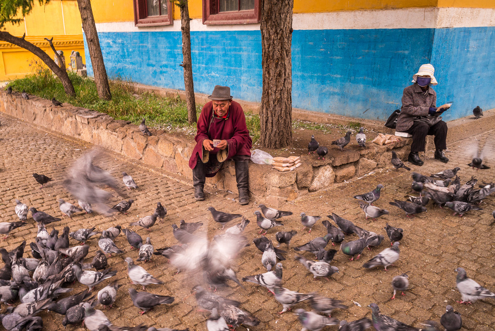 Mongolians selling bird food to monastery visitors