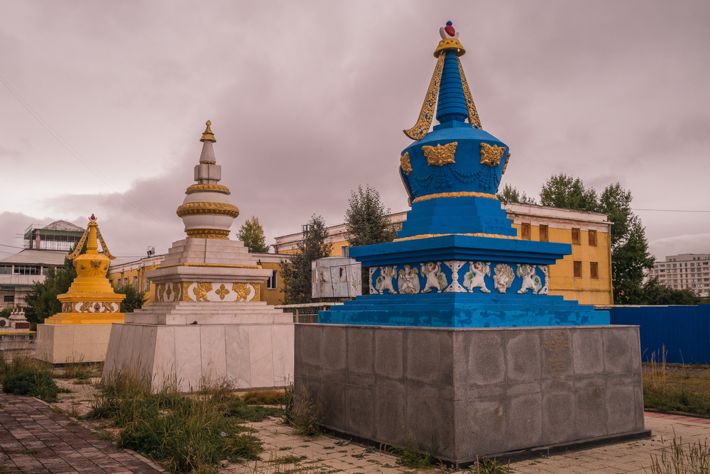 Stupas outside the monastery walls