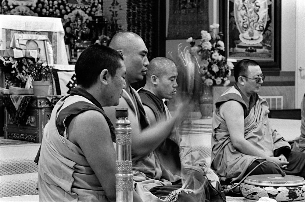 Drepung Gomang Monks with Ven. Geshe Kunga (R) preform prayers and chanting
