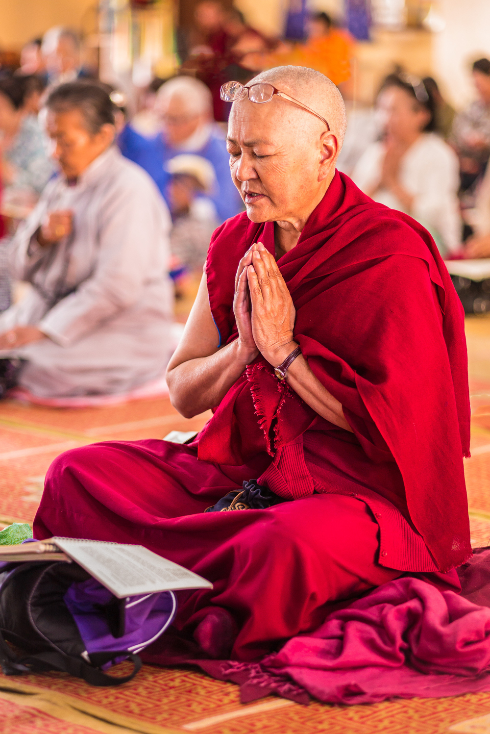 Buddhist nun during prayers and chanting