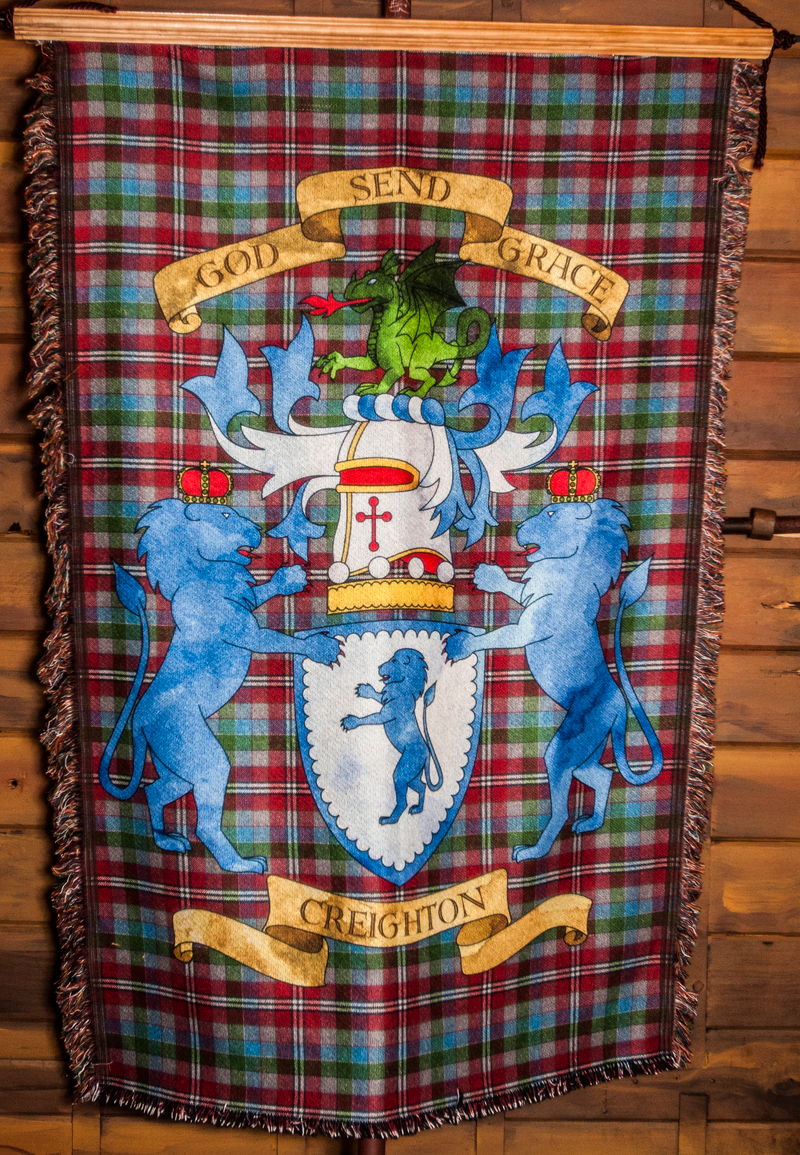 The Creighton family Coat of Arms, made into a blanket for Kelly's dad, Christmas 2014