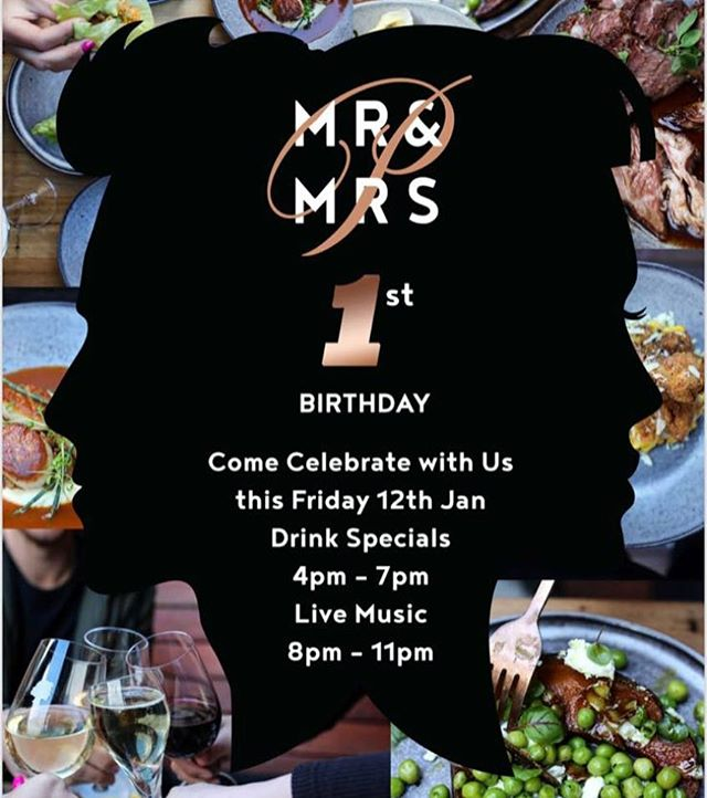 Mr & Mrs P's love story turns 1 today! Come and join the celebrations with me tonight at @mrandmrs.p 🙌❤️🍹🍸🍾🍴🎂