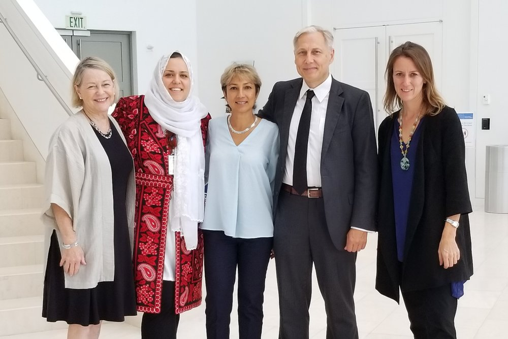 From left to right:  Kathleen Kuehnast, Palwasha Kakar, Ani Zonneveld, Amb. Franz-Michael Mellbin, Rev.              Susan Hayward.