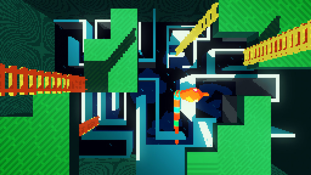 While the snake continues to climb, the camera starts to go upwards, one level up, and some blocks of green scenario starts to assemble, setting up temporary plattforms on the floor, while some ladders starts to appear in between these plattforms in a organic and pixelated way.