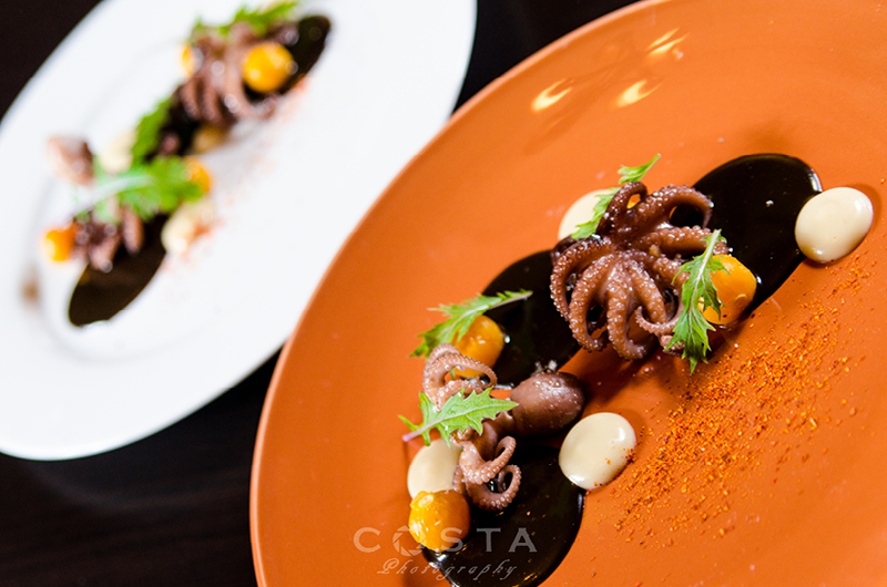Our take on adobong pugita: Baby Octopus, golden berry, mizuna, squid ink