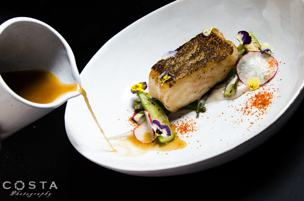 Our take on sinigang: pan-seared rockfish, okra, radish, tamarind veloute