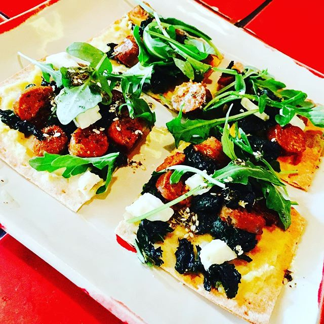 New menu #merguez #flatbread with feta and #zahatar