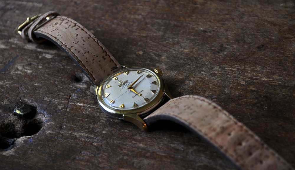 1955 Omega Constellation on a handmade cork strap.