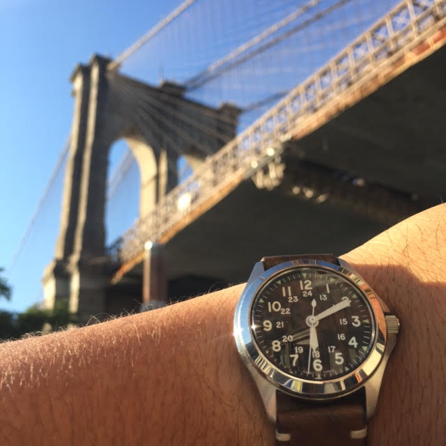 The Traveling Watch and the Brooklyn Bridge.