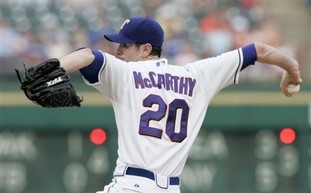 Texas Rangers pitcher Brandon McCarthy, modest inverted W. (Source: AP Photo)