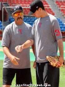 Terry Clark (left), his mustache, and Michael Schlact. (Source: Jason Cole, LoneStarDugout.com)