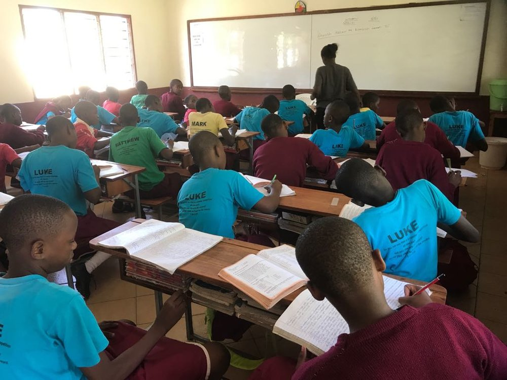Grade 7 hard at work. This is the hardest year for school work because they actually work to complete all of the primary school syllabus so grade 8 can focus on review and preparation for the KCPE exam.
