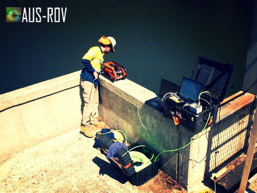 About to deploy the SeaBotix LBV200 ROV at Little Nerang Dam, Gold Coast.