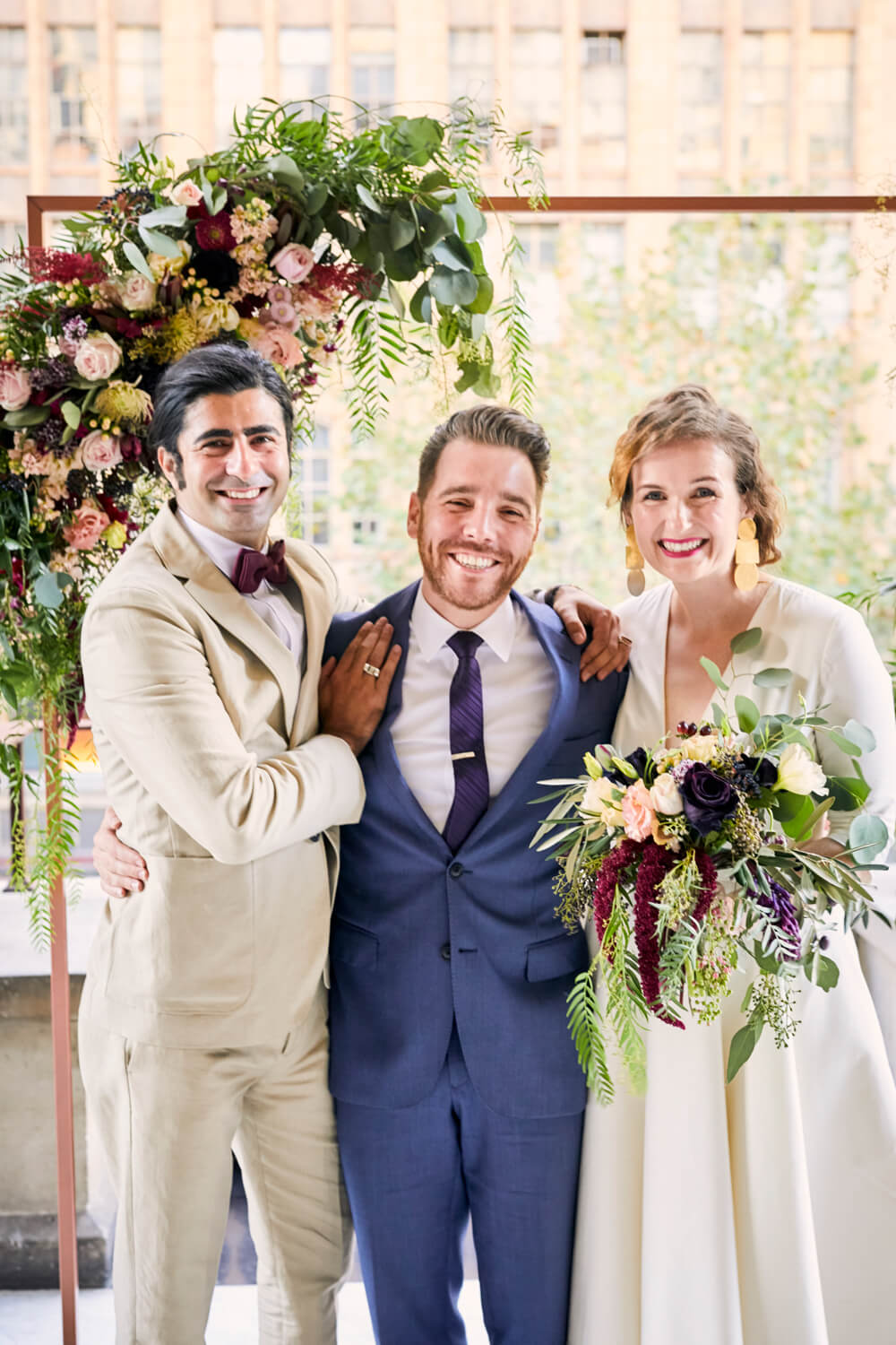 Fun Melbourne Town Hall Wedding - Flower Arch & Bouquet