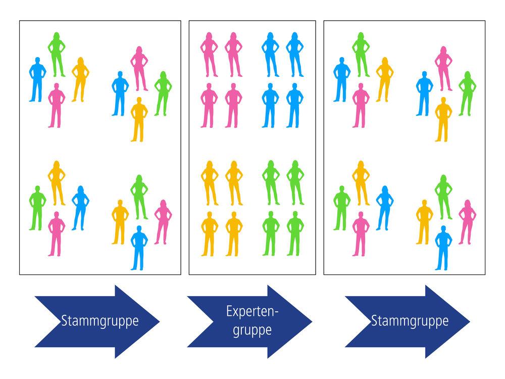 Stamm- und Expertengruppen bei der Methode Gruppenpuzzle. (Quelle: eigene Dastellung)