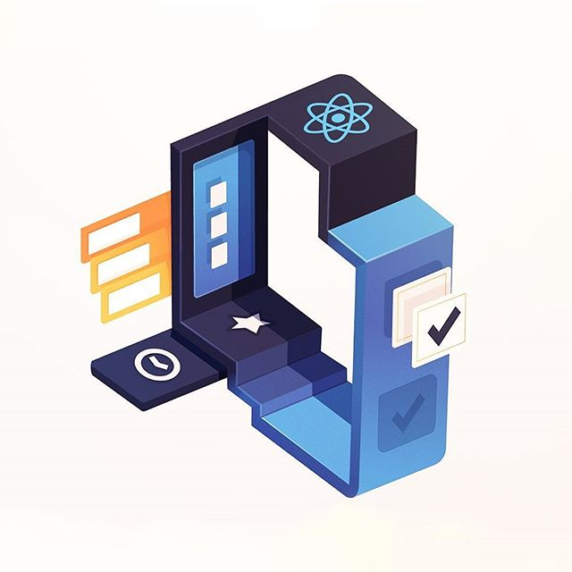 """Latest Egghead course image for """"Building a React Native To-Do App""""  So... how do you build a to-do app using the #React framework? With abstract isometric boxes! 😜 Or also by taking the #egghead course on it – Being released later this week.  This series is turning into MC Esher meets developer metaphors.  #developers #framework #code #build #app #coding #reactnative"""