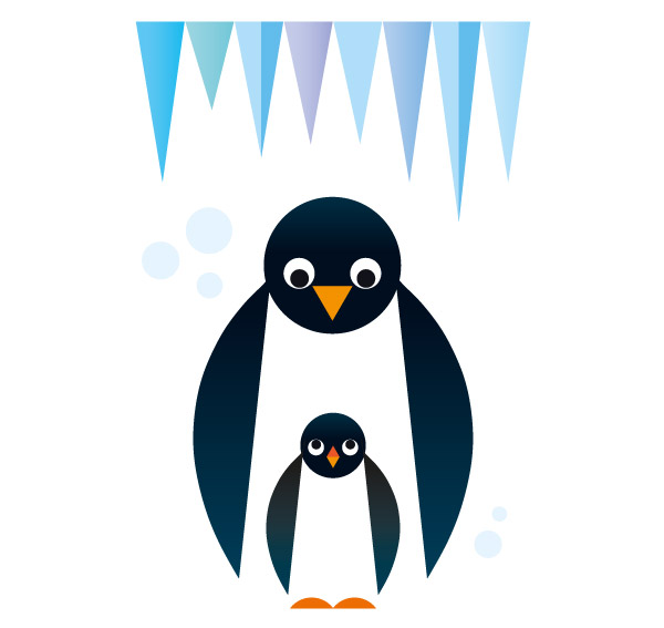 Papa Penguin and his tyke