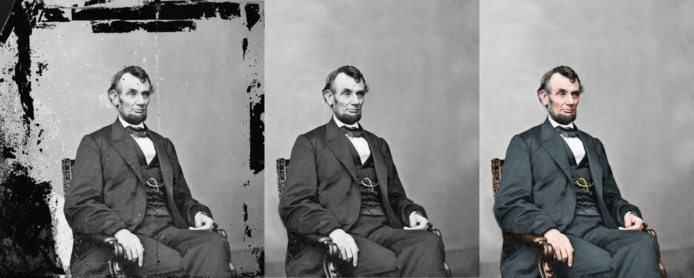Digitally restored and colorized photograph of Abraham Lincoln, 16th President of the United States