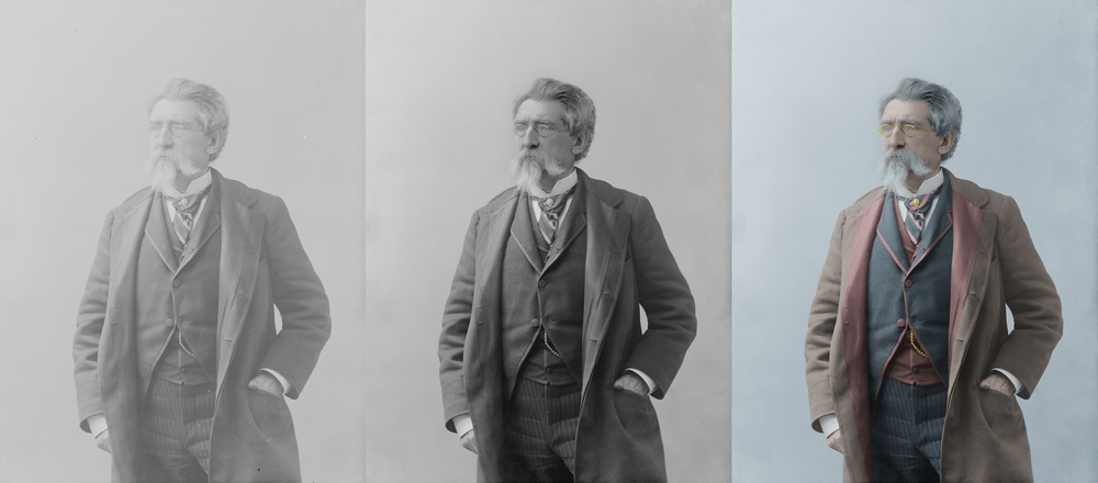 Digitally restored and colorized photograph of Mathew Brady, known as the father of photojournalism