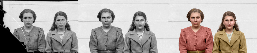 Digitally restored and colorized photograph of two sisters from the collection of Costica Acsinte