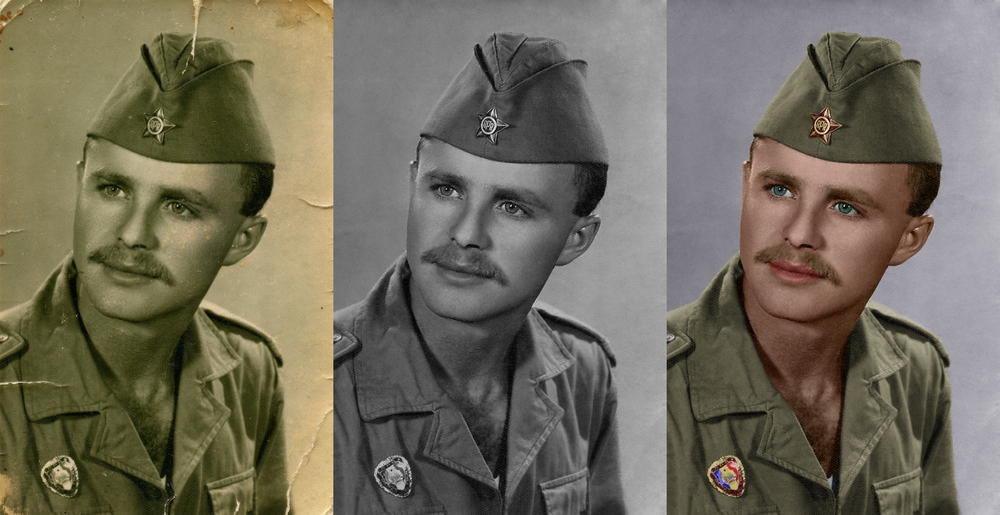 Digitally restored and colorized photograph of Roberta Isai's grandfather