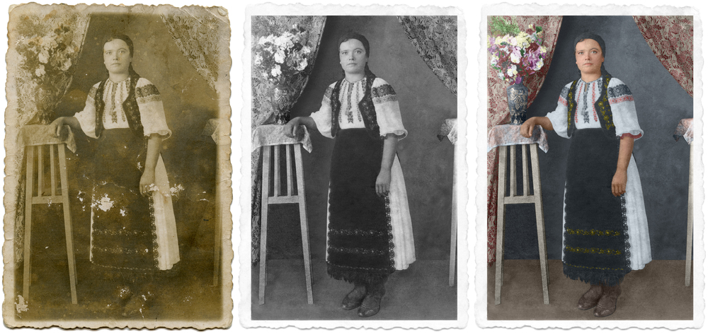 Digitally restored and colorized photograph of a Romanian woman wearing traditional clothing from the Apuseni area