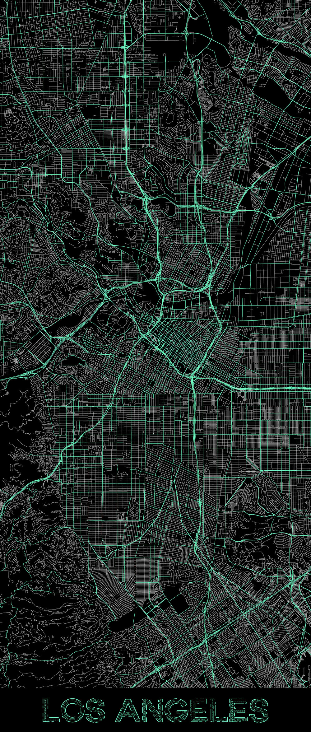 City map illustration of Los Angeles created using Maperitive, OpenStreetMap and Adobe Illustrator.