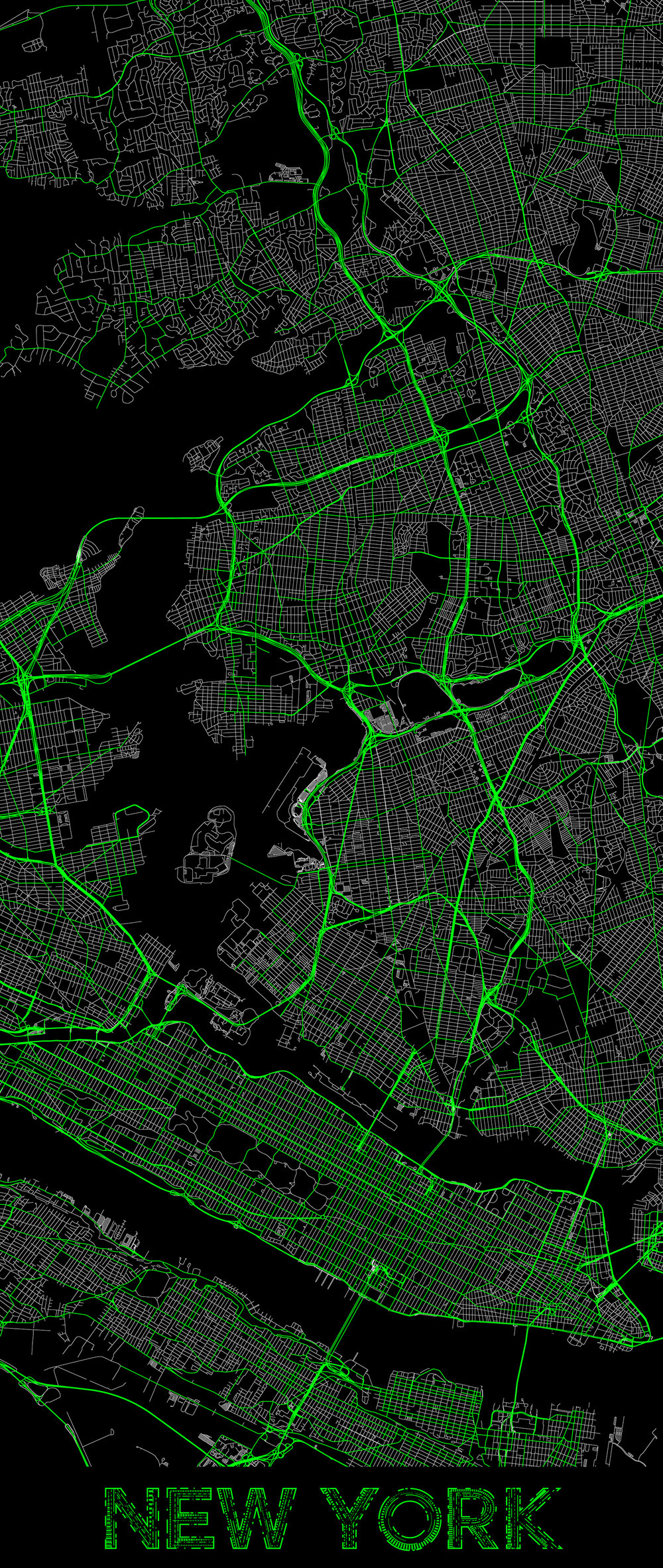 City map illustration of New York created using Maperitive, OpenStreetMap and Adobe Illustrator.