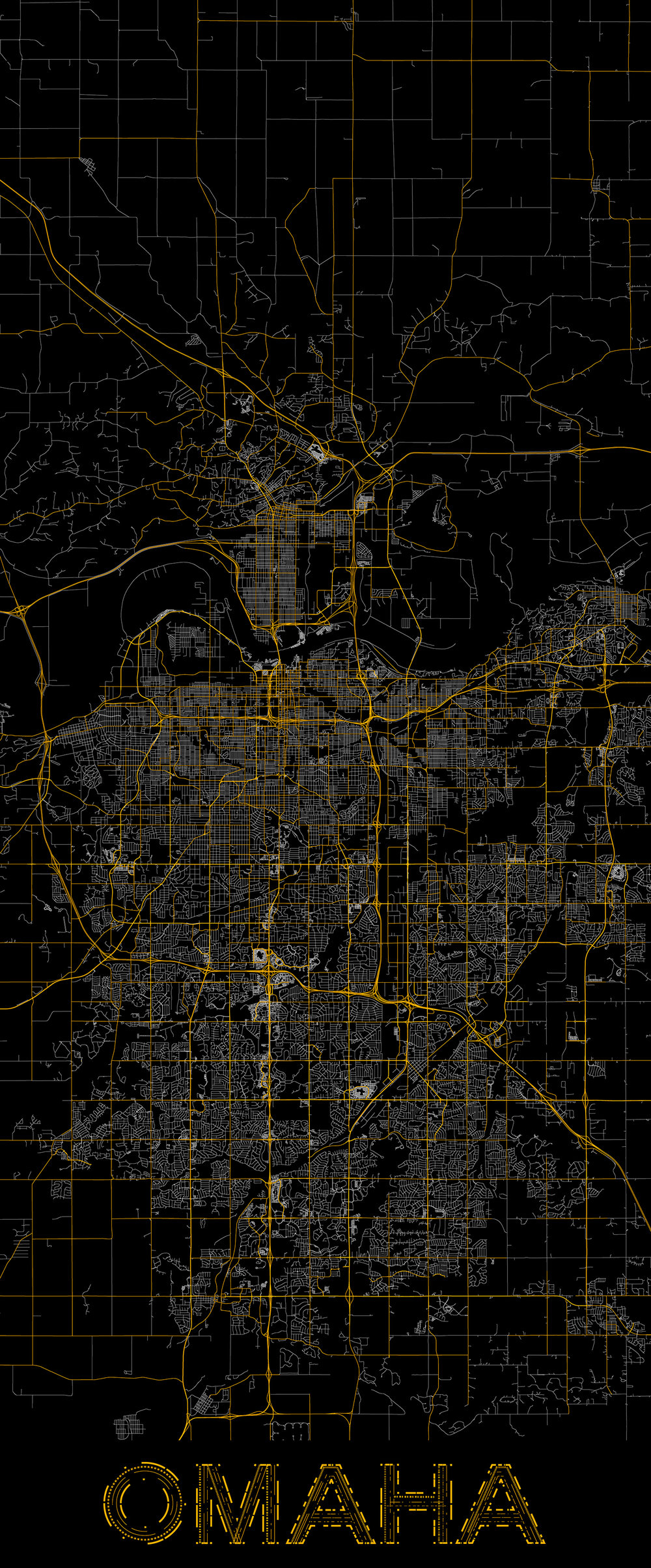 City map illustration of Omaha created using Maperitive, OpenStreetMap and Adobe Illustrator.