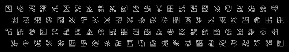 A series of primitive glyphs in which a square and a circle are a constant. Design exercise regarding connections and variety.
